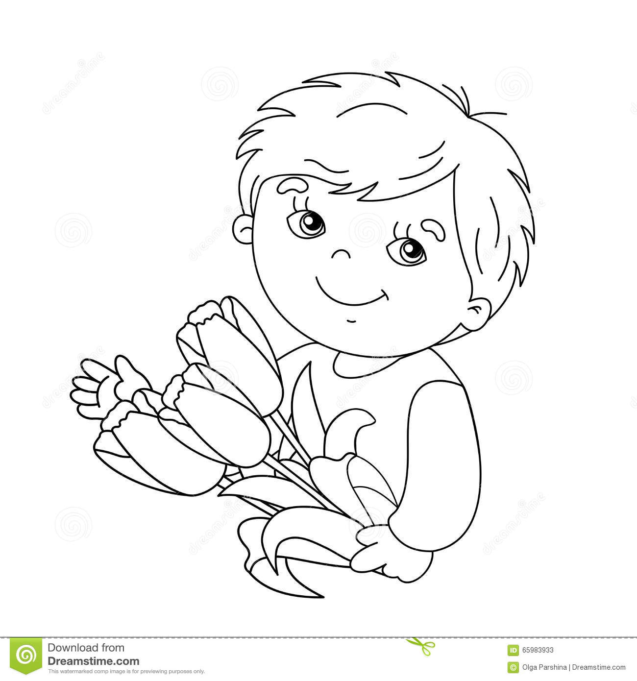 coloring page outline of boy with bouquet of tulips stock vector