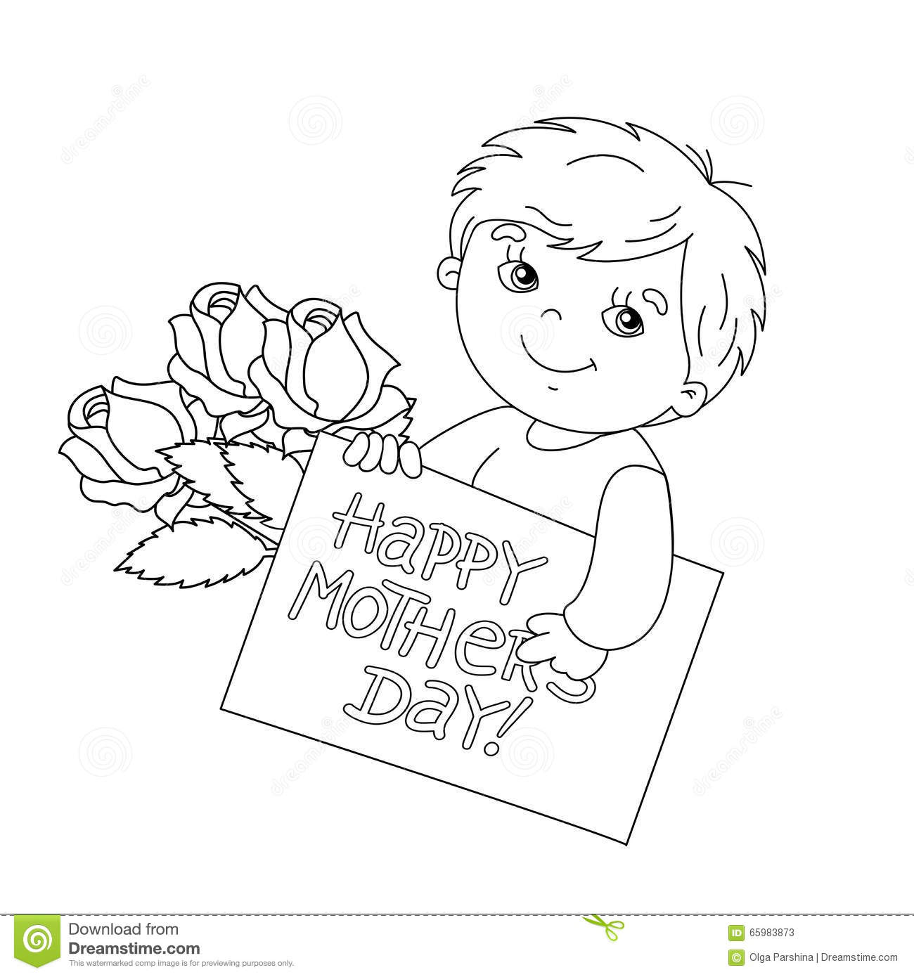 coloring page outline of boy with card for mother u0026 39 s day