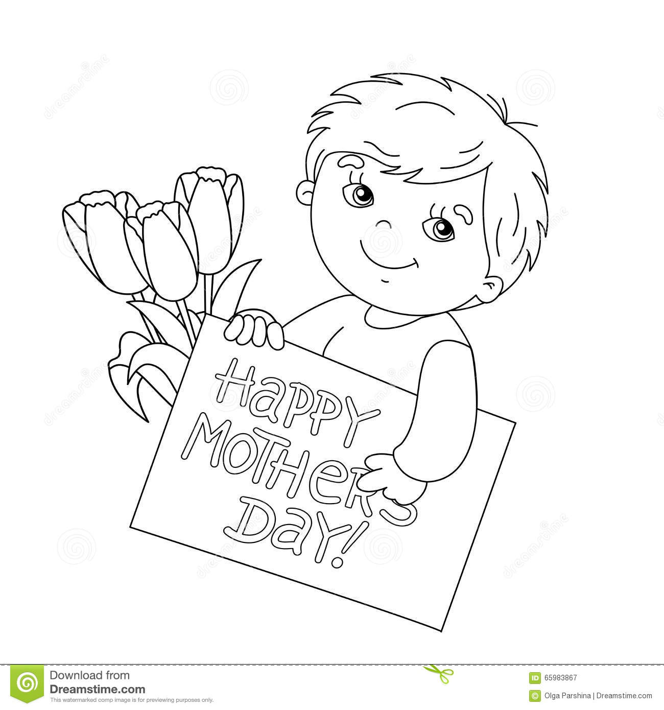 Stock Illustration Coloring Page Outline Boy Card Mother S Day Cute Bouquet Tulips Image65983867 on Funny Happy Birthday Cards