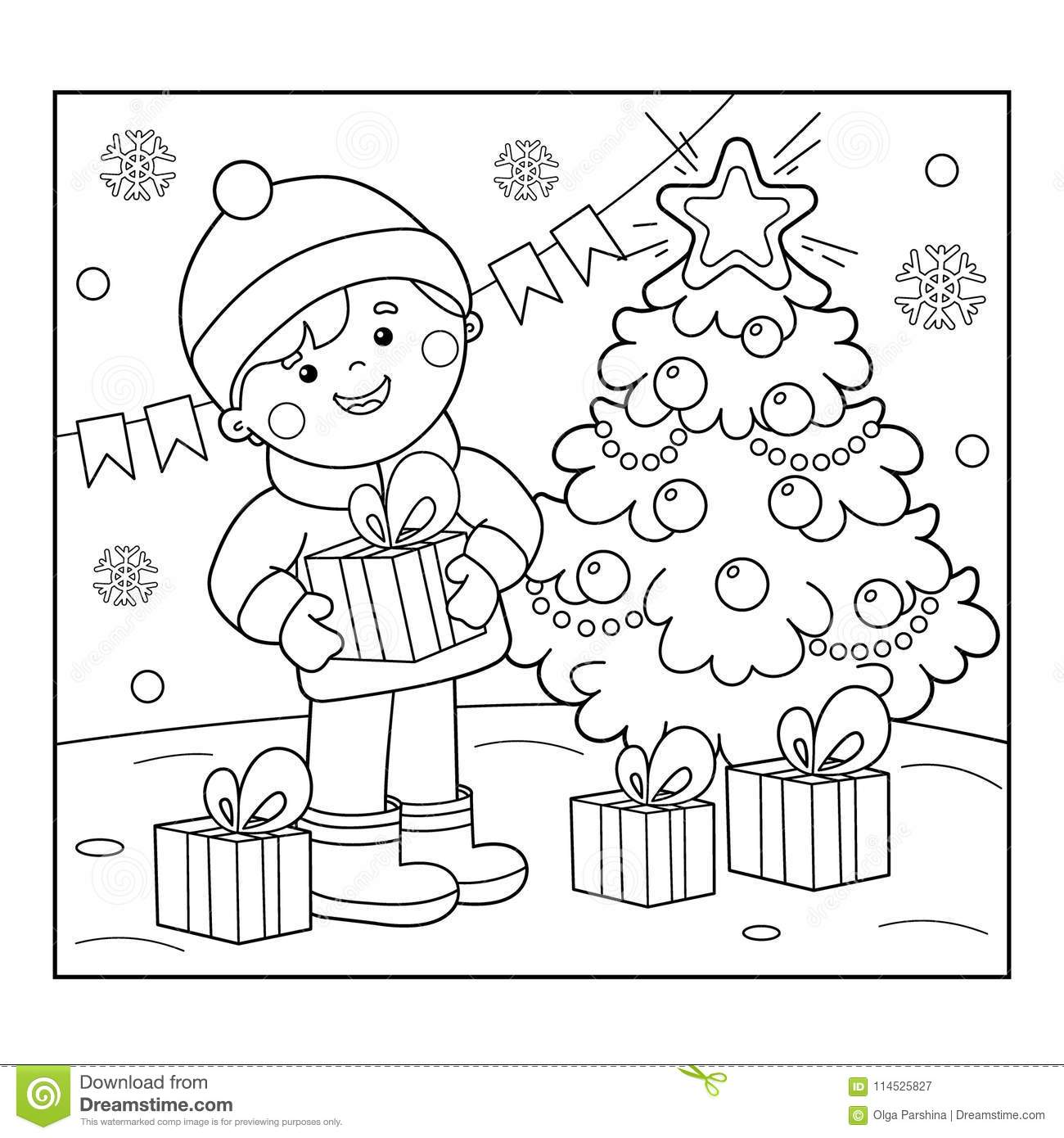 coloring page outline of boy with gifts at christmas tree christmas new year