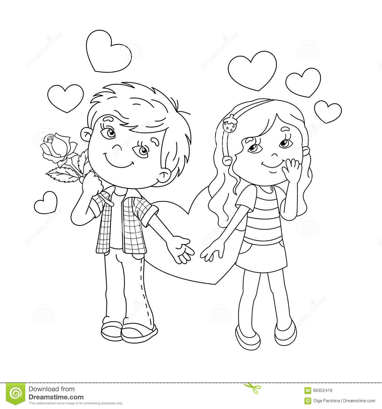 coloring page outline of boy and with hearts stock vector