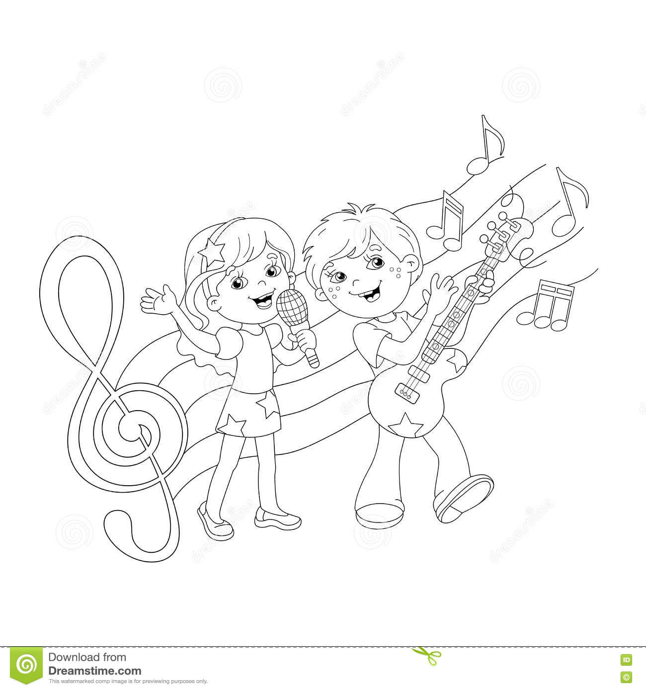 coloring page outline of boy and singing a song stock vector
