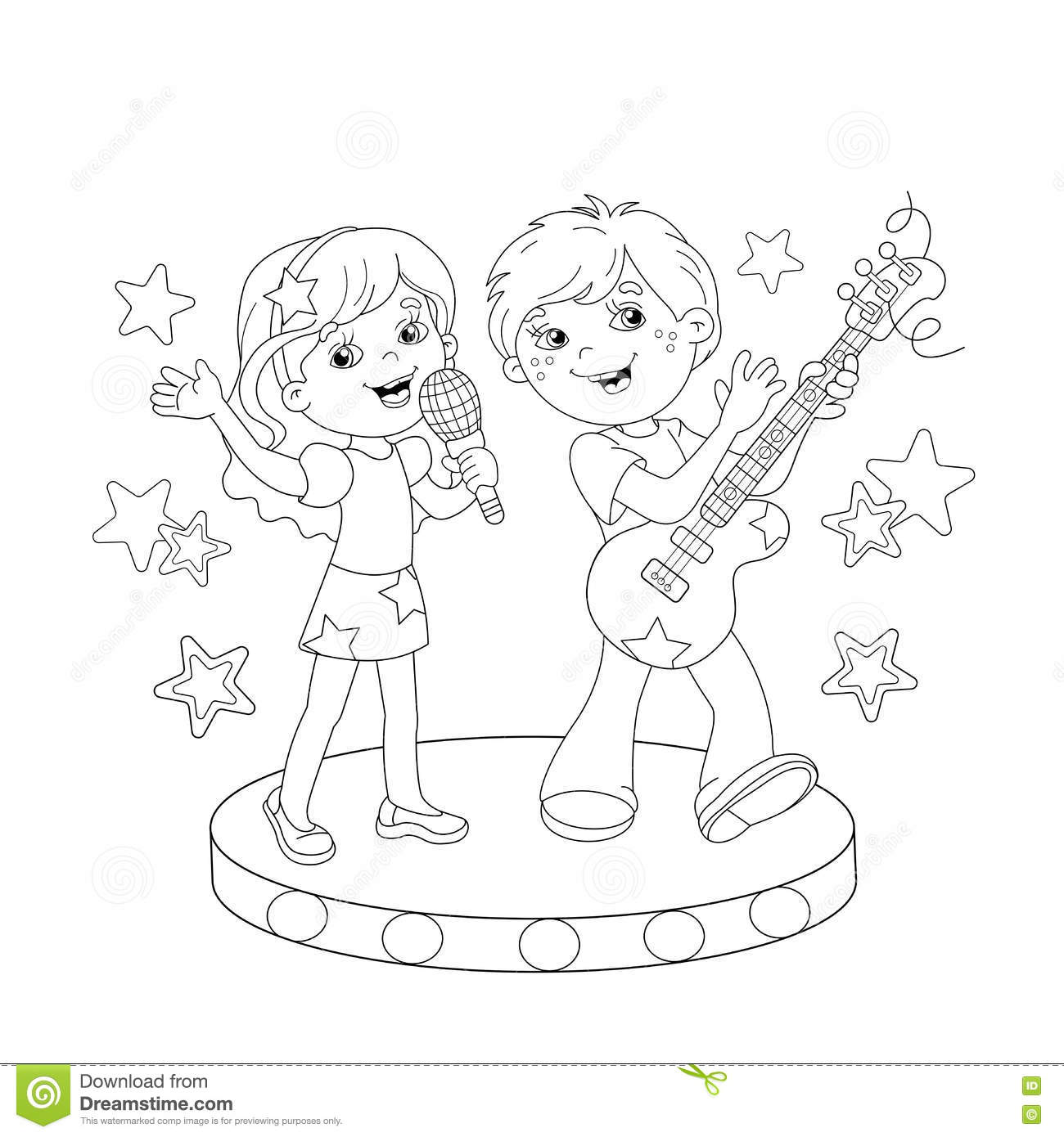 Coloring page outline of boy and girl singing a song