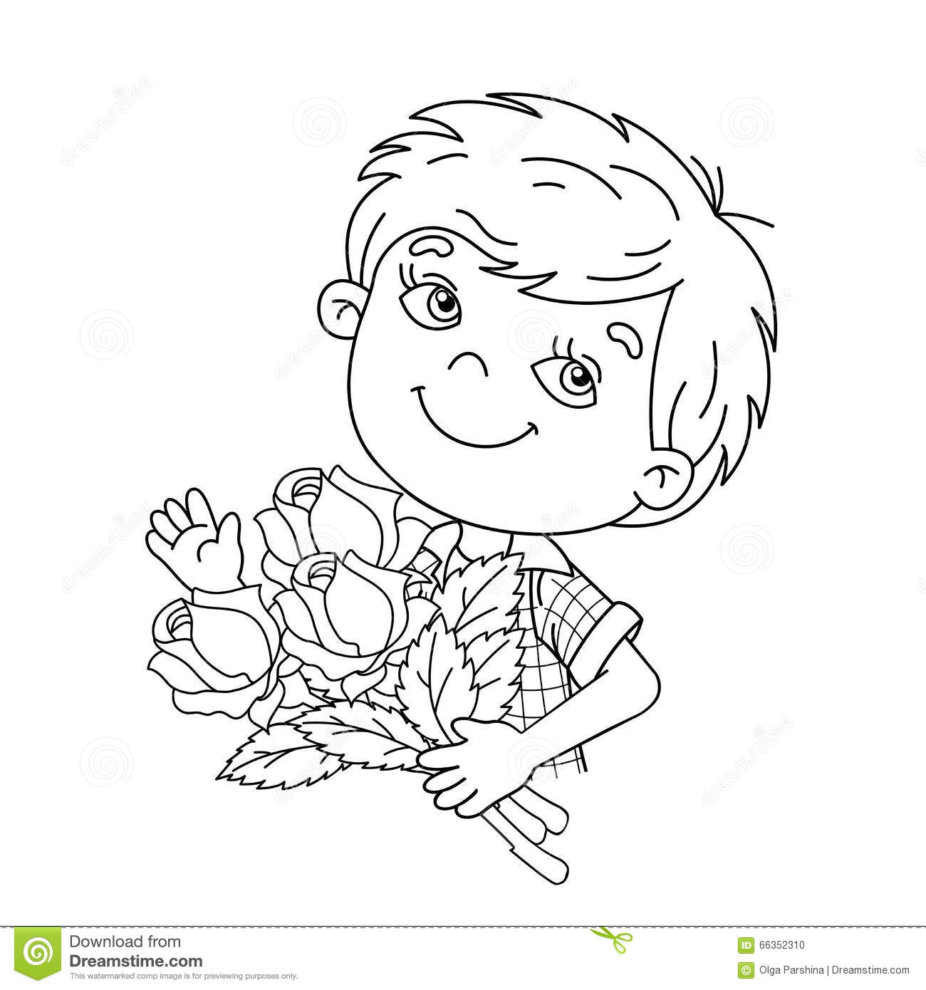 Coloring page outline of boy holding a bouquet of roses for Boy outline coloring page