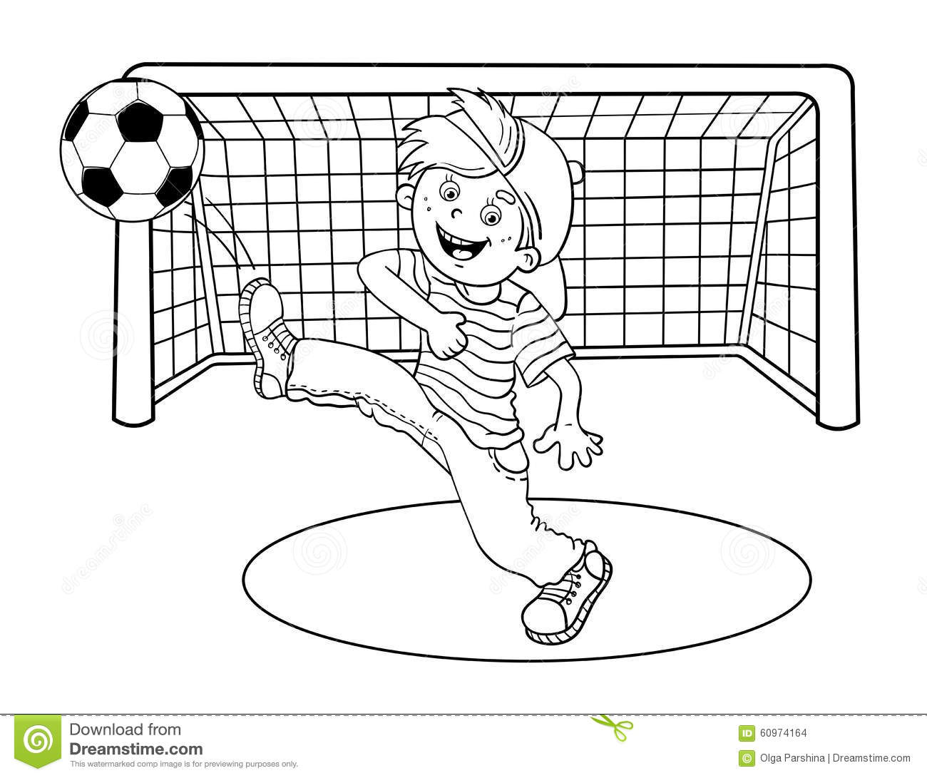 Coloring Page Outline Of A Boy Kicking Soccer Ball Stock Vector
