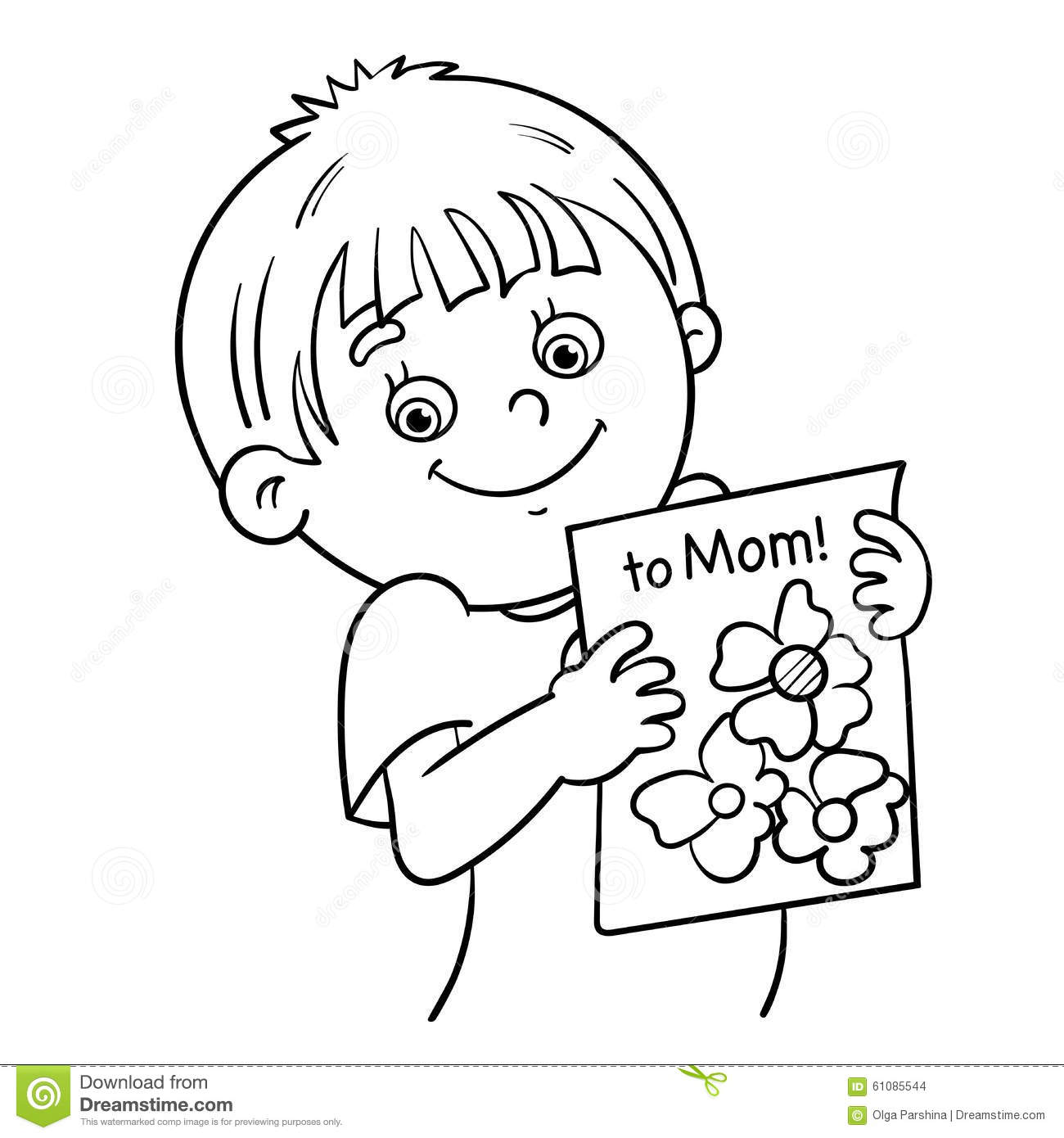 coloring page outline of a boy with a picture stock vector image