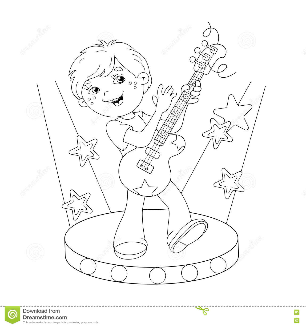 Girls Playing Guitar Coloring Pages