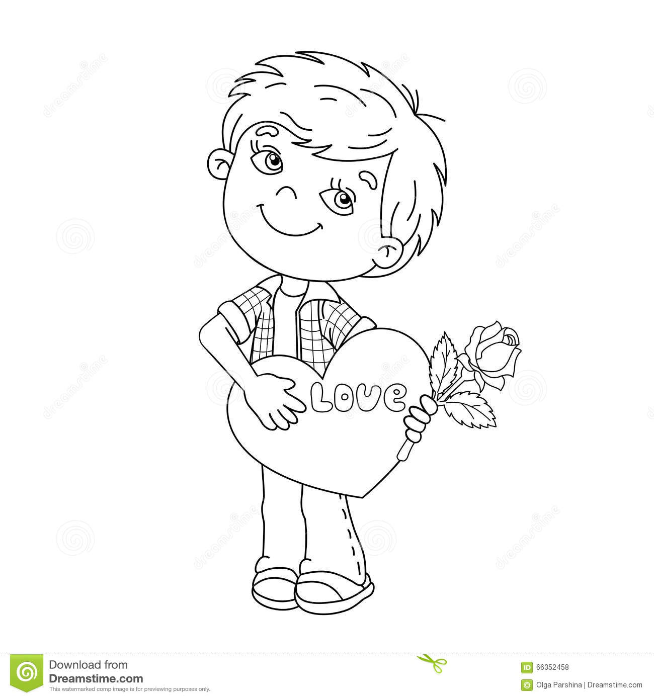 coloring page outline of boy with rose in hand with heart