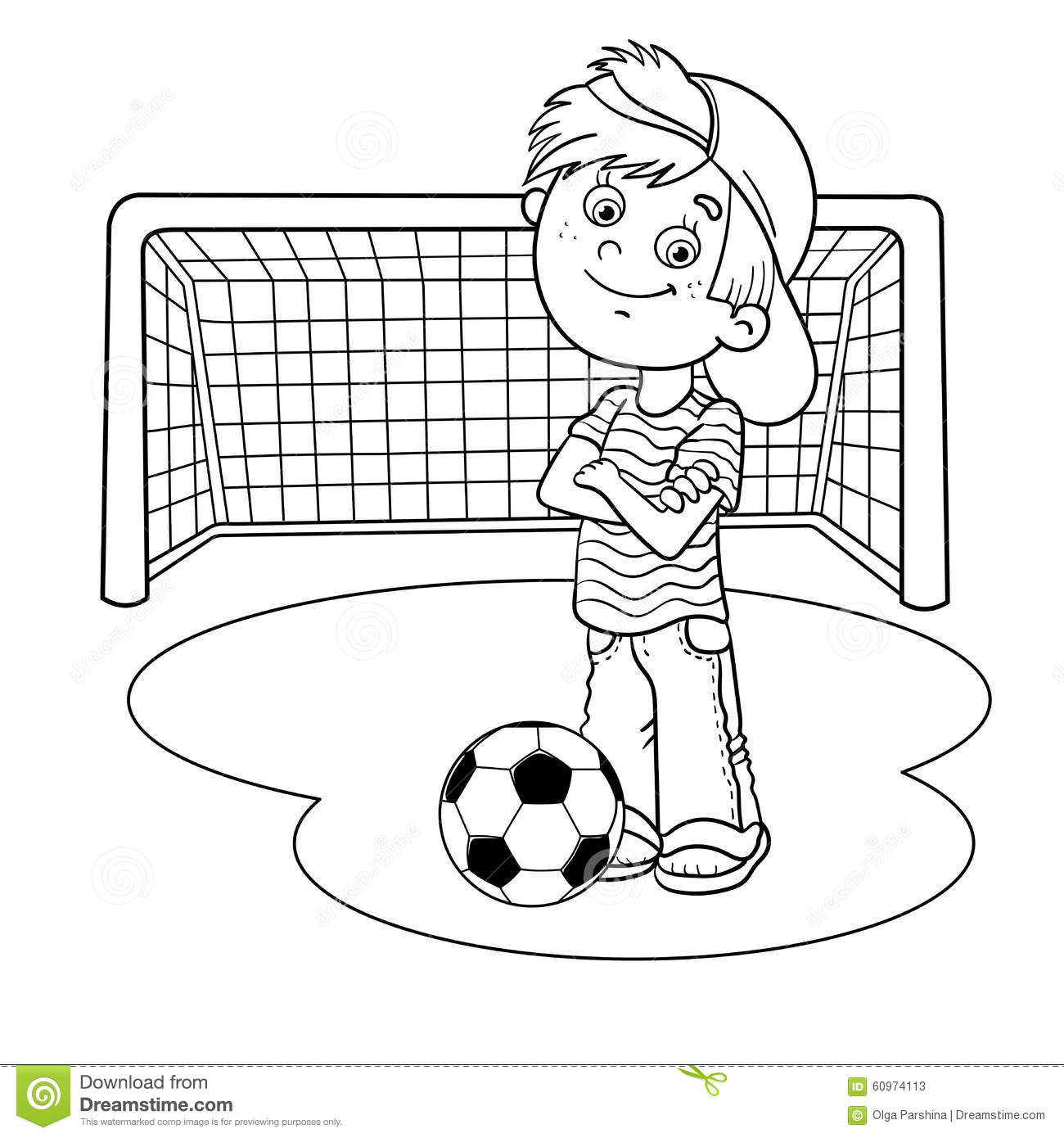 coloring page outline of a soccer boy stock vector image 60979019