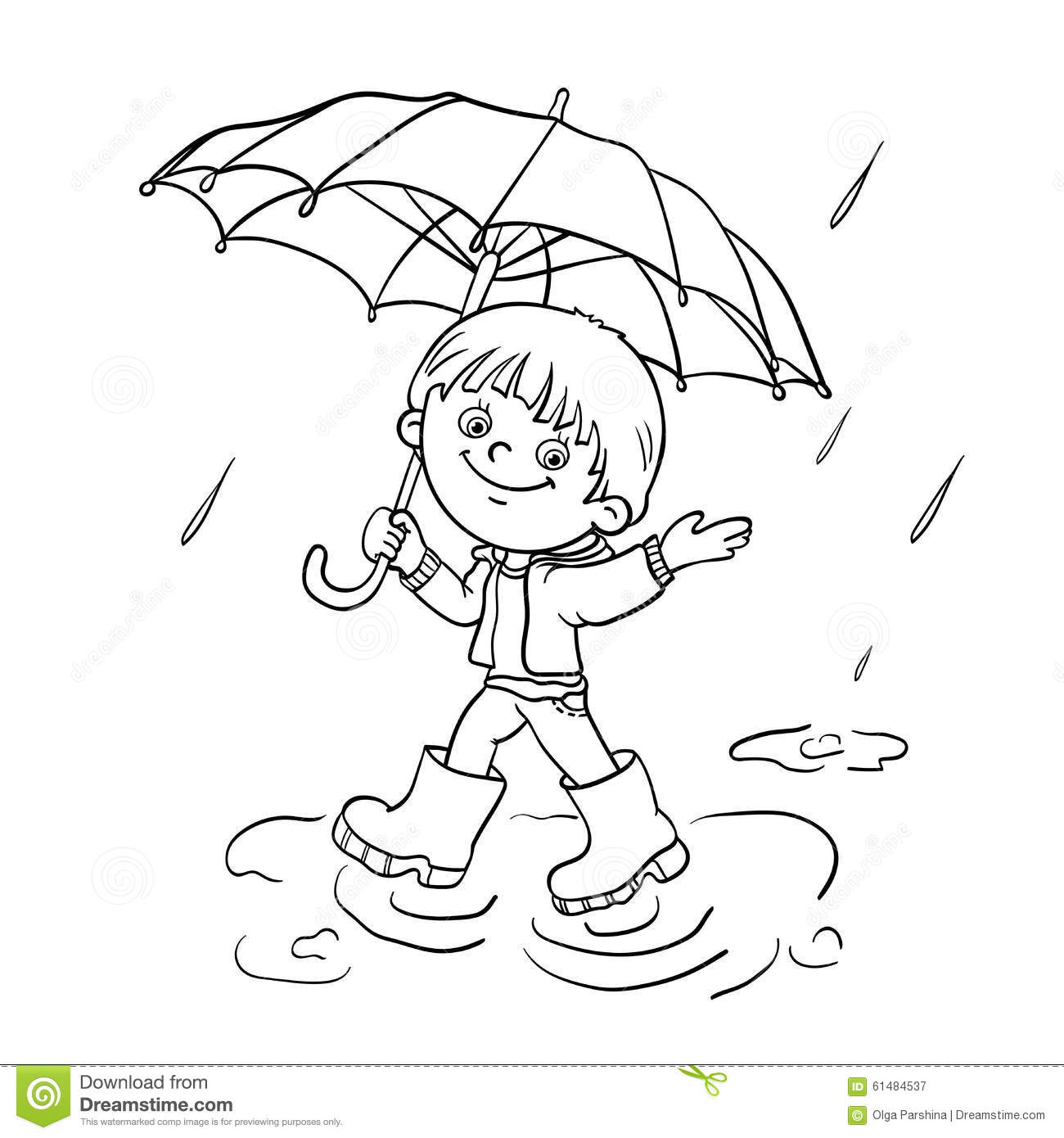 Spring rain coloring pages - Coloring Page Outline Of A Boy Walking In The Rain