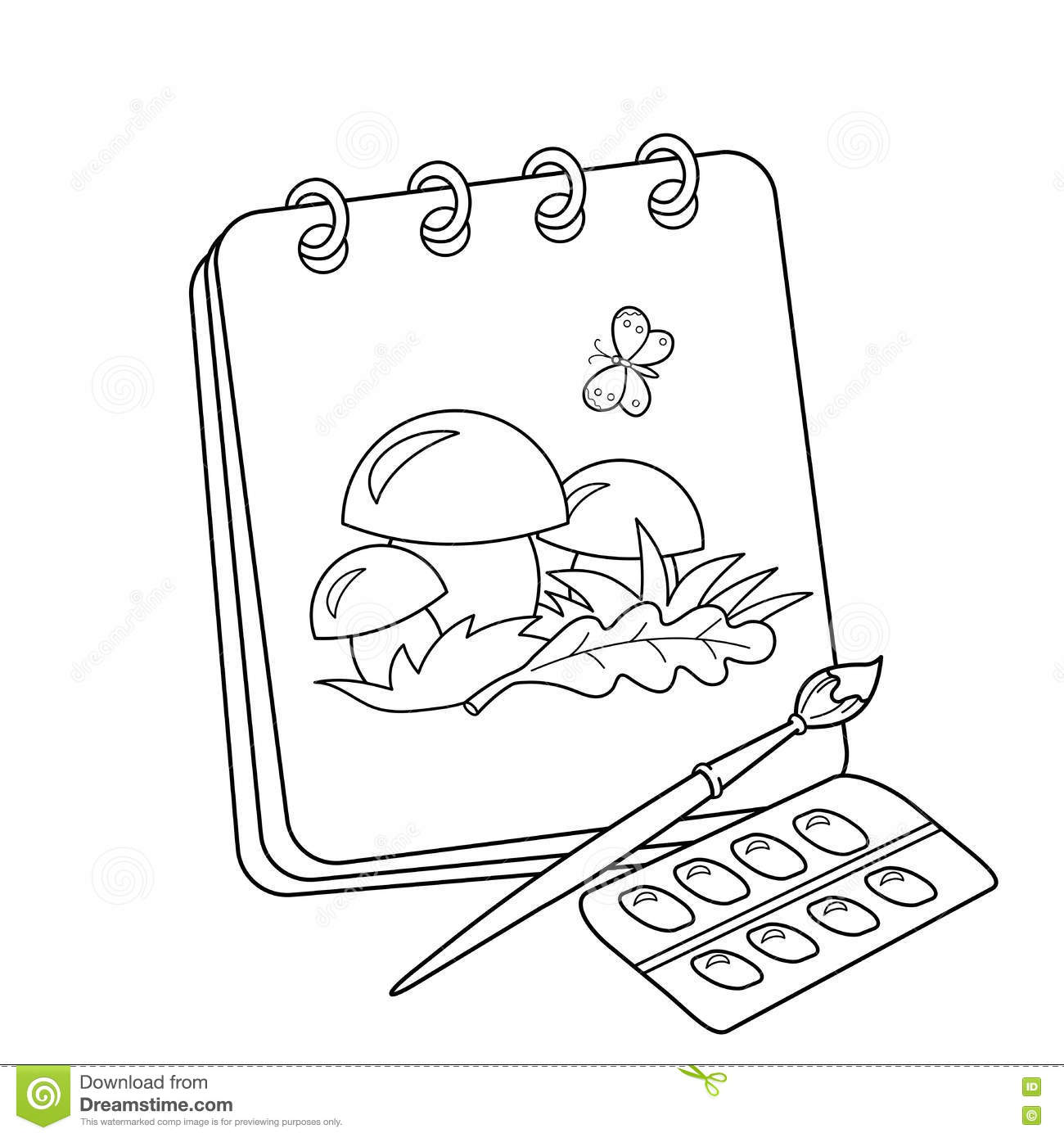 Coloring page outline of cartoon album or sketchbook with brush and paints drawing of mushrooms coloring book for kids
