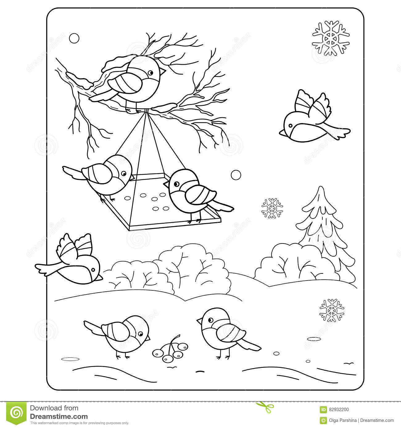 Coloring Page Outline Of Cartoon Birds In The Winter Stock Vector