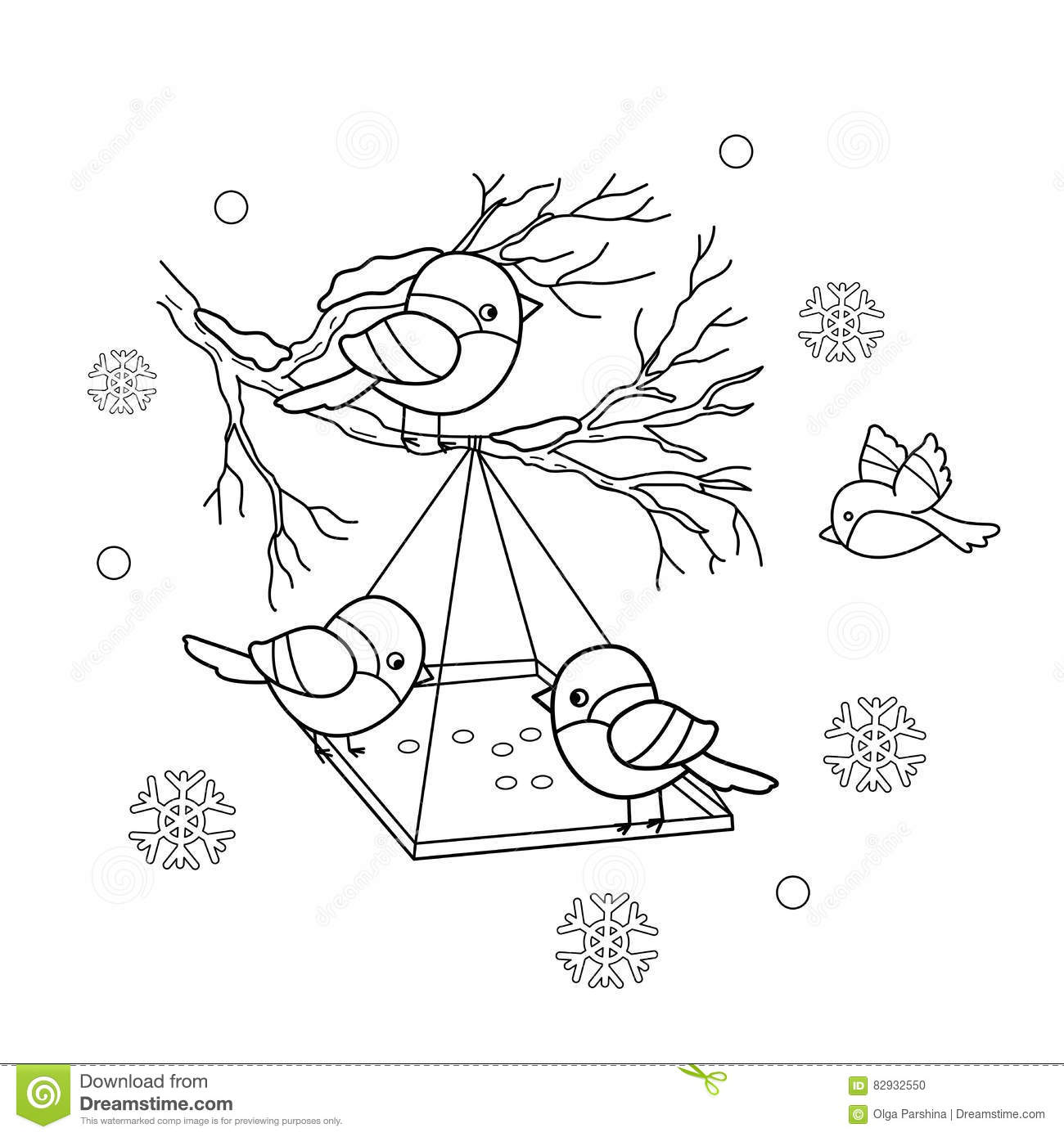 Coloring Page Outline Of Cartoon Birds In The Winter Leisure Happy