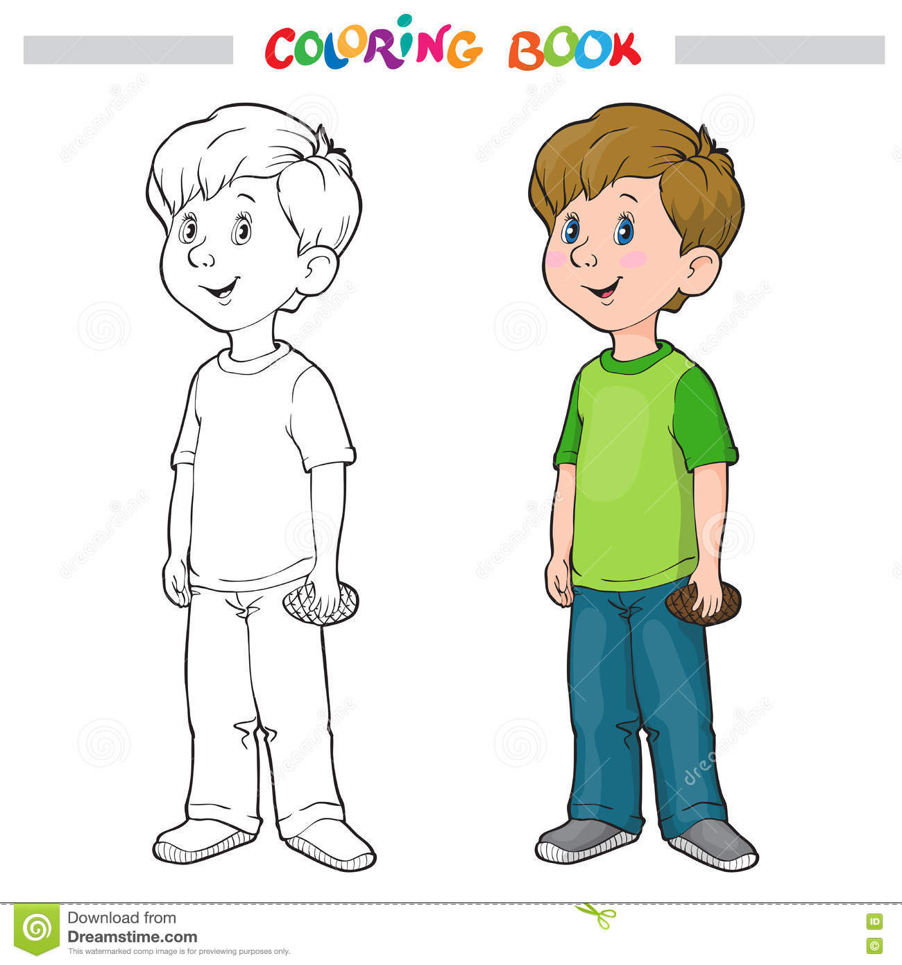 coloring page outline of a cartoon boy stock vector image 77704875