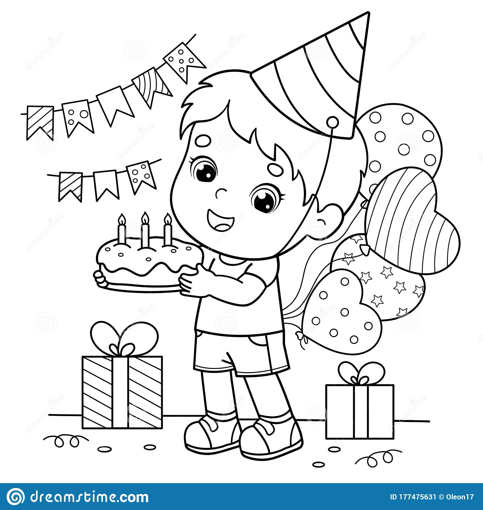 Coloring Page Outline Of A Cartoon Boy With A Cake And ...