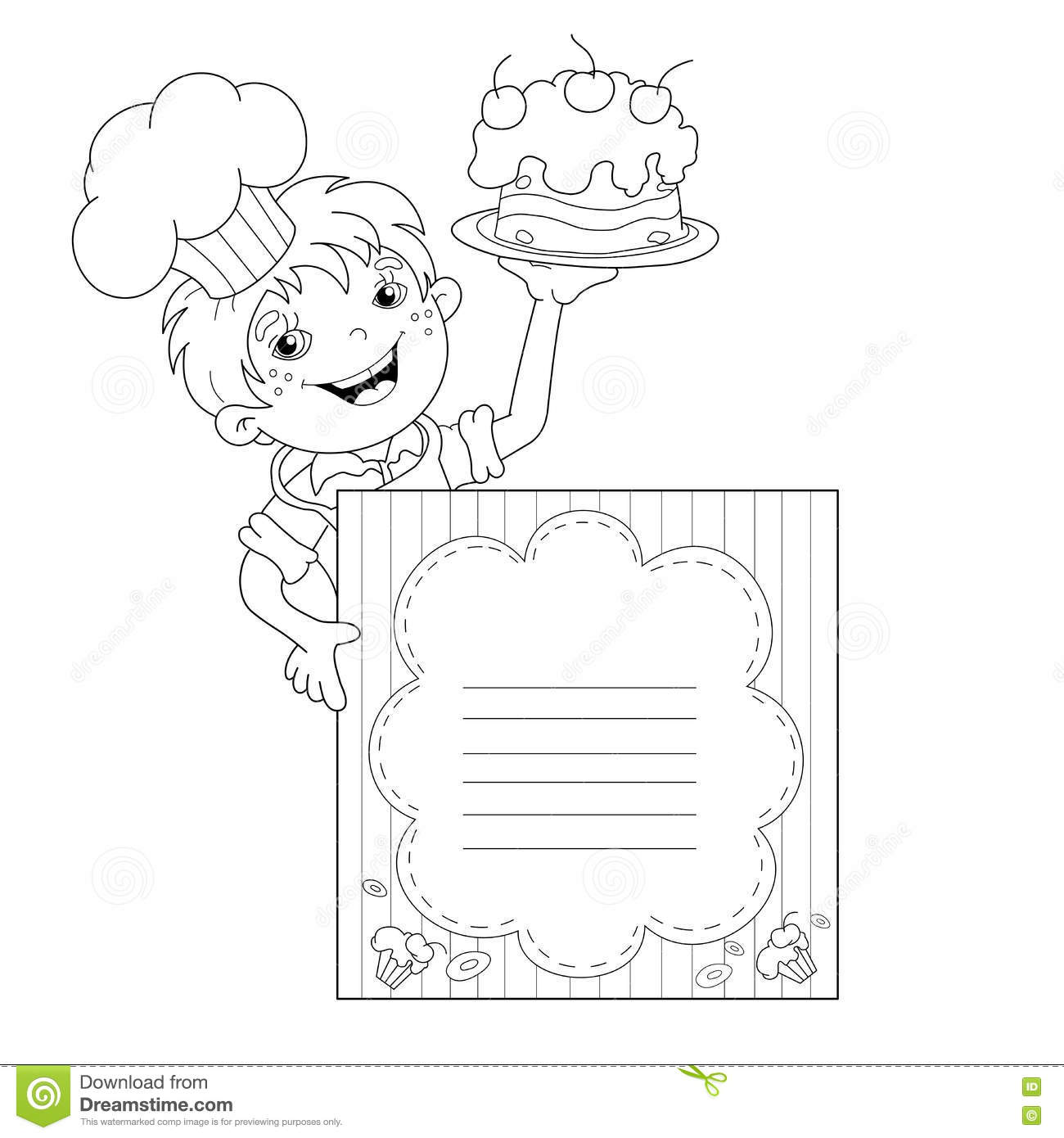 Coloring Page Outline Of Cartoon Boy Chef With Cake Template For Menu Book Kids
