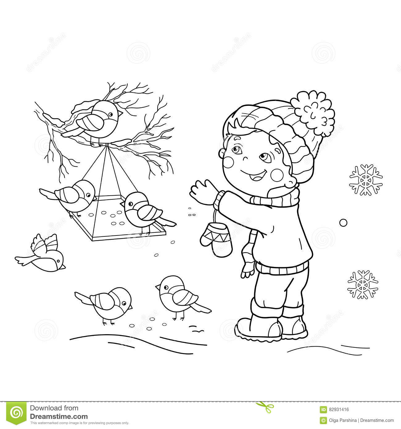 Download Coloring Page Outline Of Cartoon Boy Feeding Birds Bird Feeder Stock Vector
