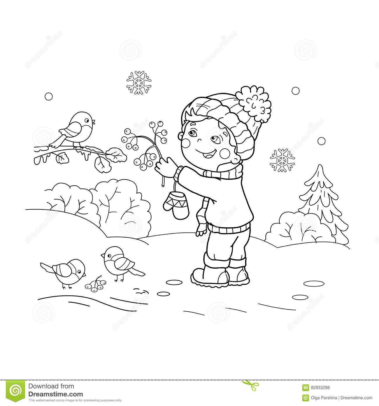 Download Coloring Page Outline Of Cartoon Boy Feeding Birds Stock Vector
