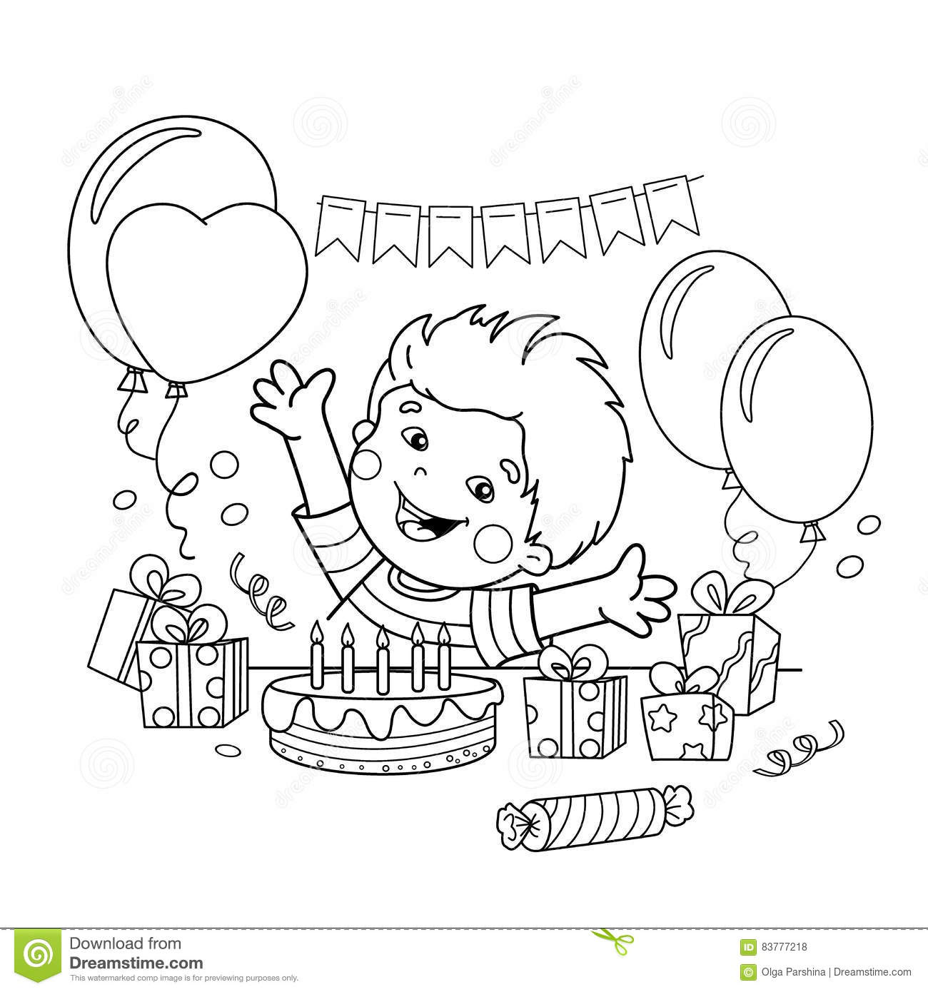 Coloring Page Outline Of Cartoon Boy With A Gifts At The Holiday ...