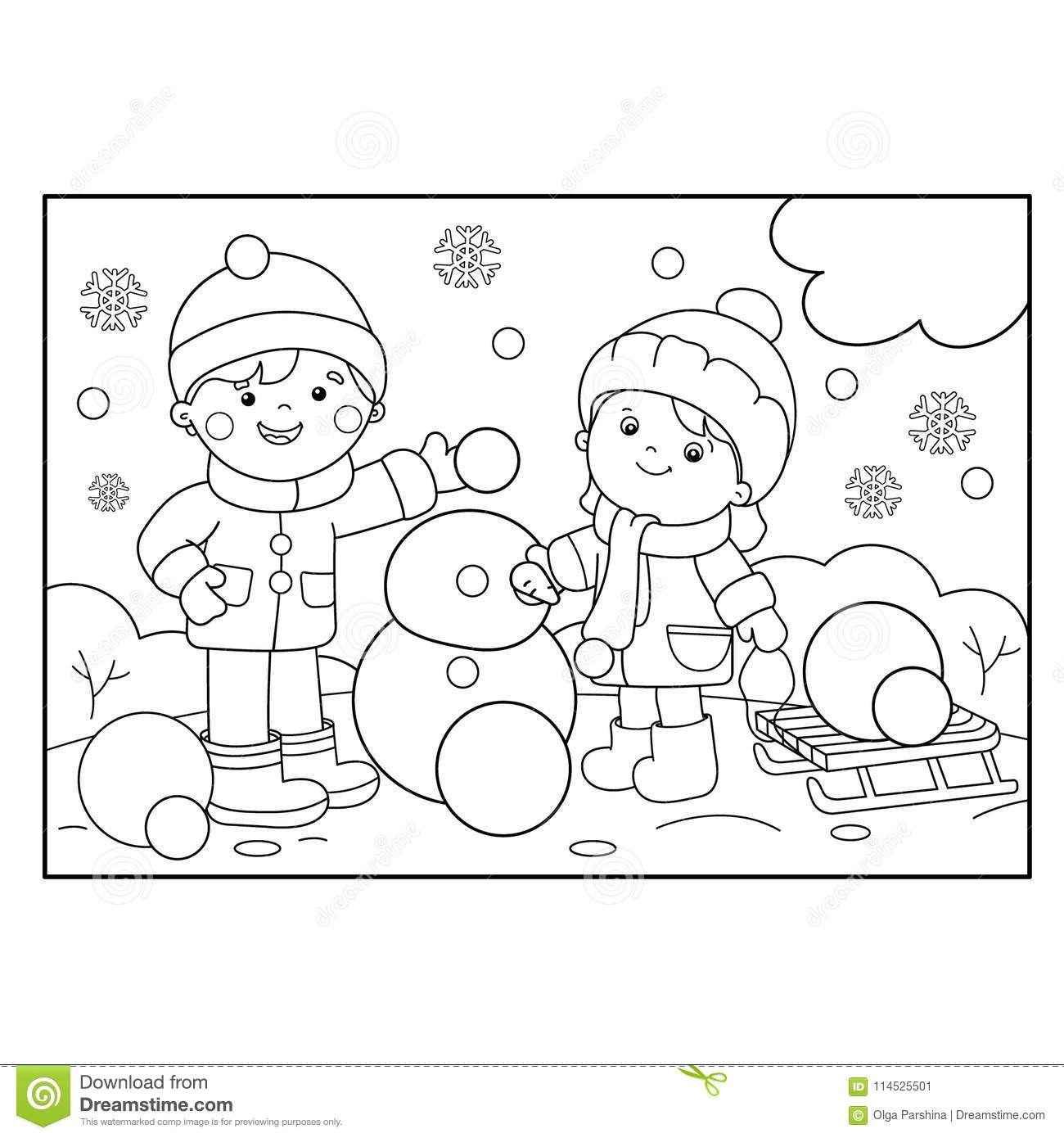 Coloring Page Outline Of Cartoon Boy With Girl Making Snowman Stock ...