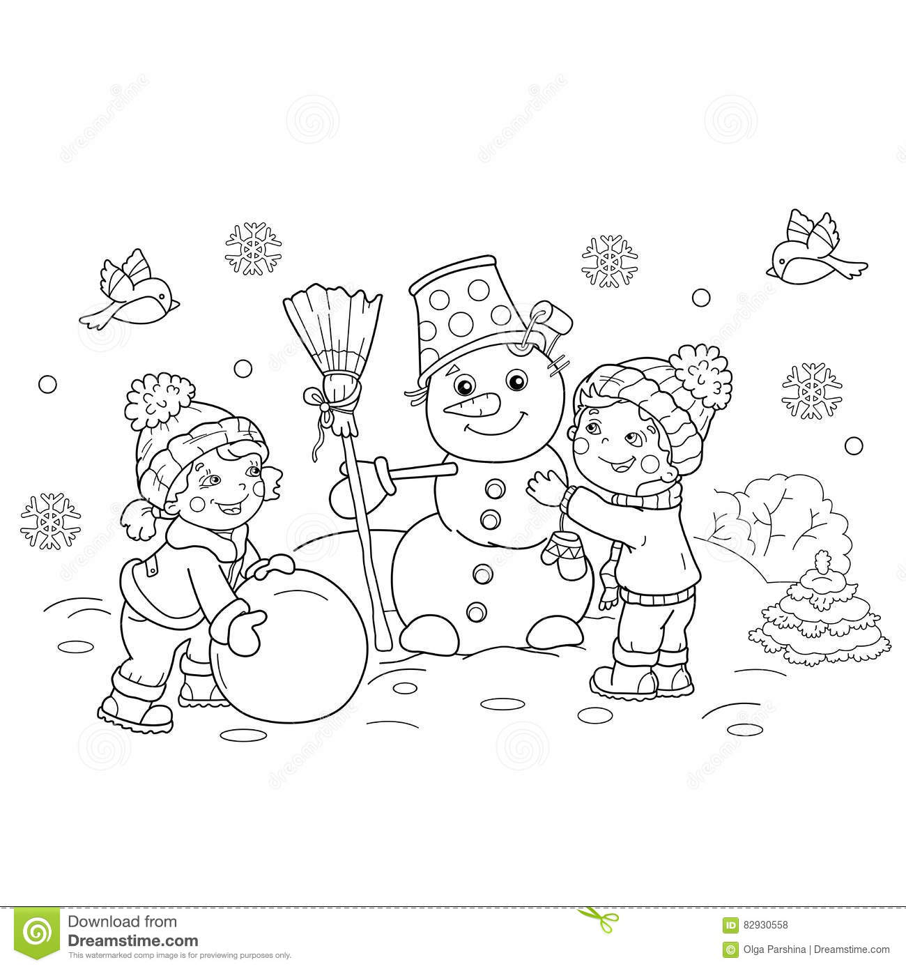 Coloring Page Outline Of Cartoon Boy With Girl Making Snowman Royalty Free Stock Photos
