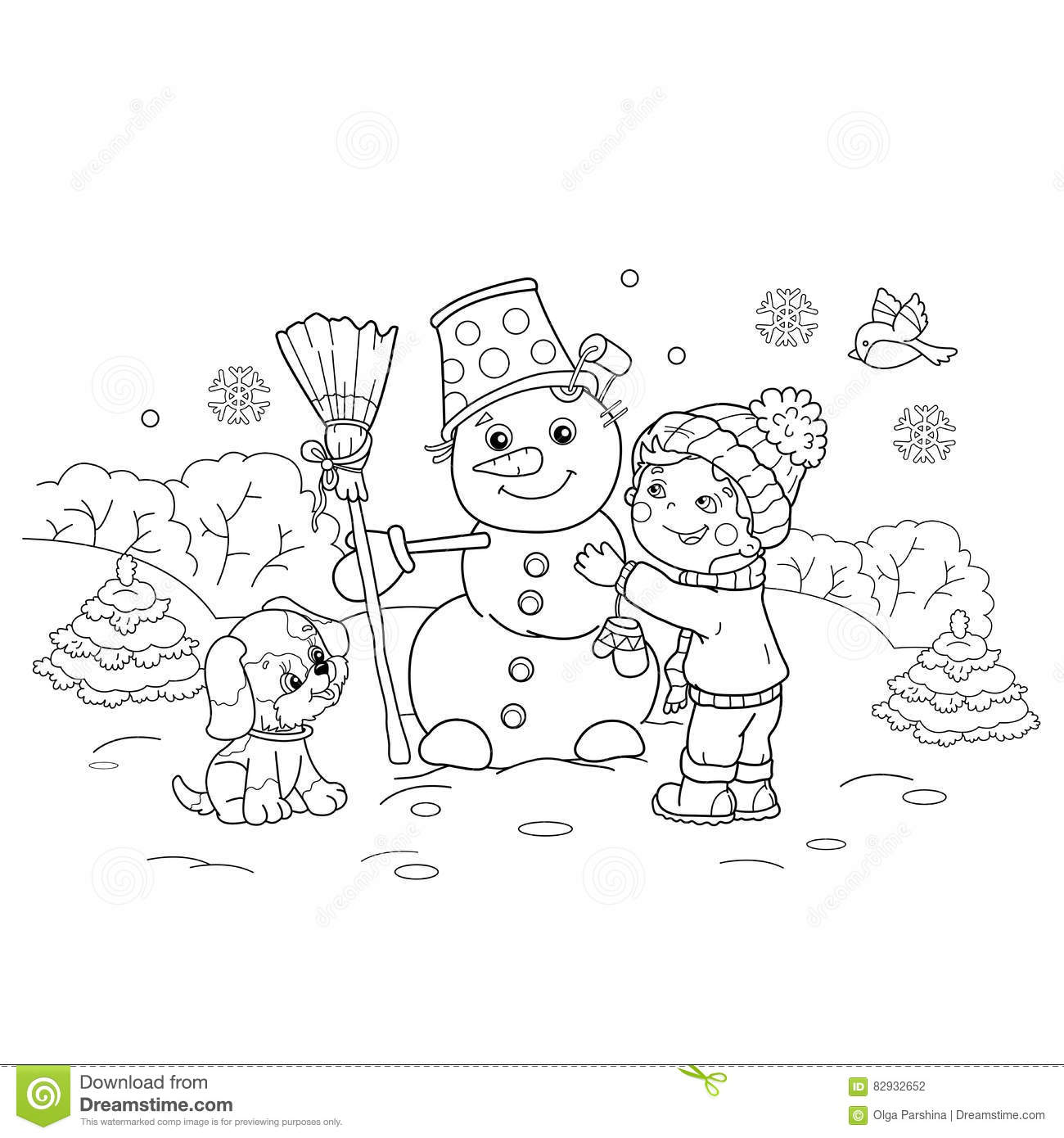 Coloring Page Outline Of Cartoon Boy Making Snowman With Dog. Stock ...