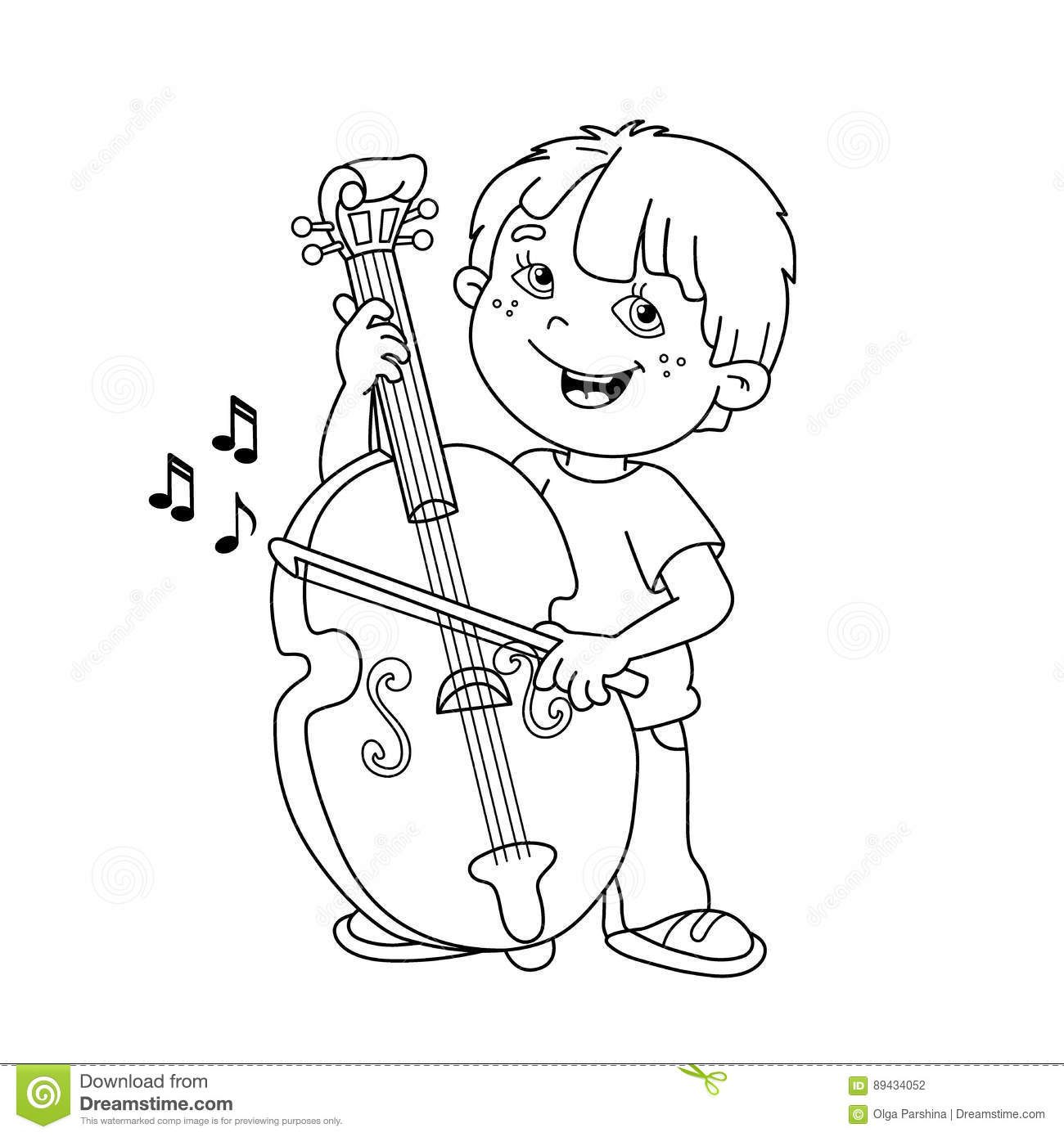 Coloring Page Outline Of Cartoon Boy Playing The Cello. Stock Vector ...