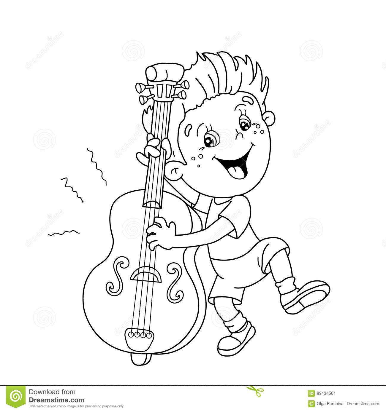 Coloring Page Outline Of Cartoon Boy Playing The Cello Stock ...