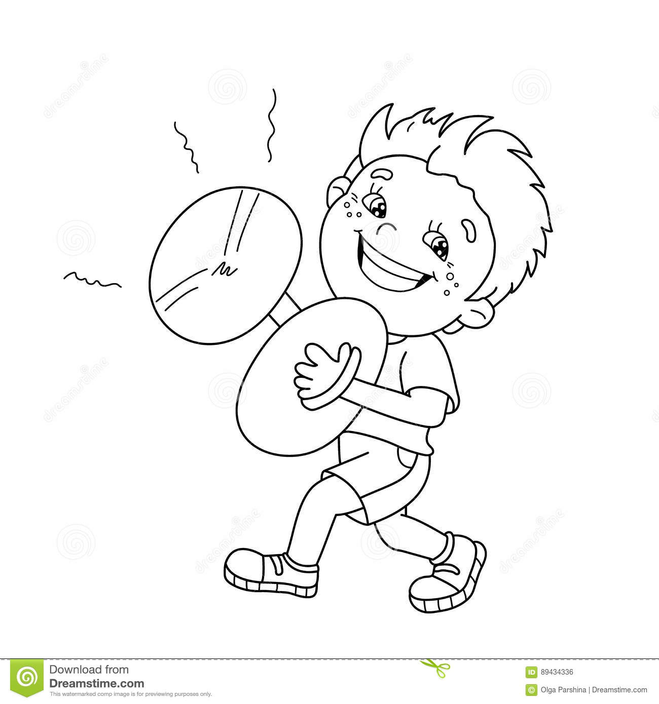 coloring page outline of cartoon boy playing the cymbals stock