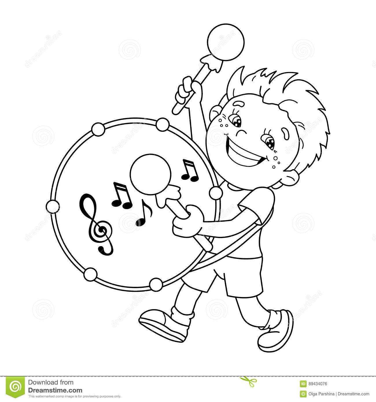 coloring page outline of cartoon boy playing the drum stock
