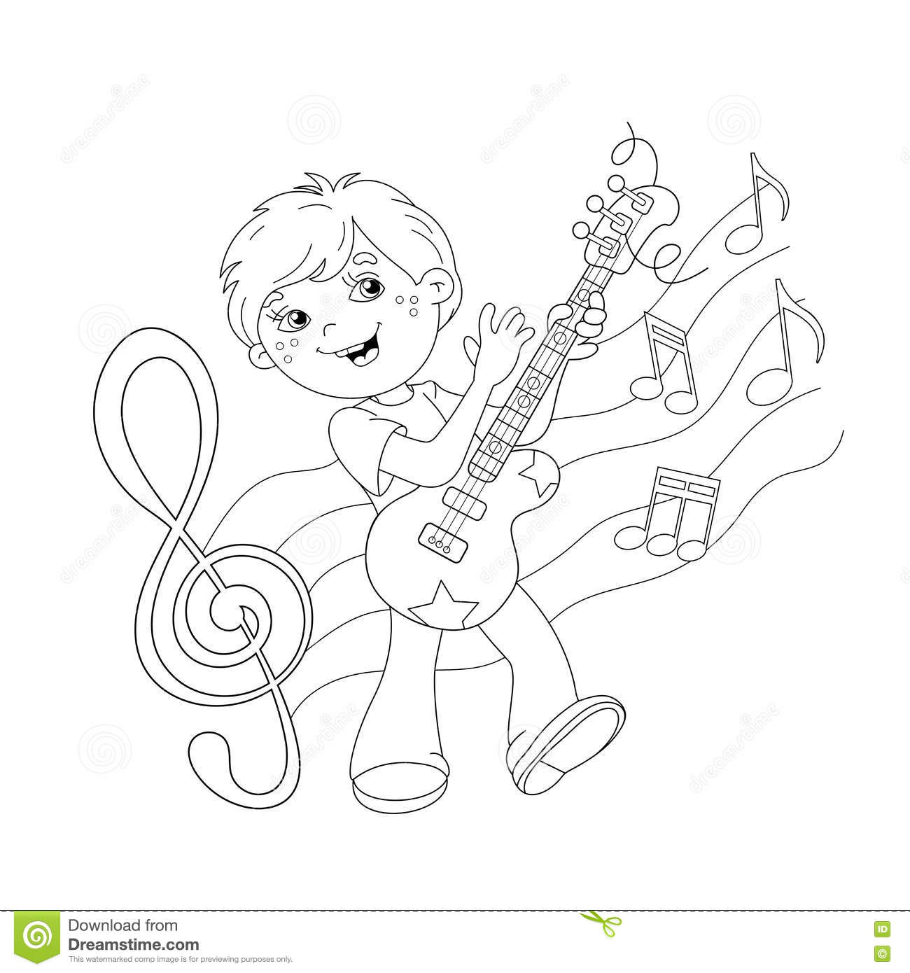 Coloring Page Outline Of Cartoon Boy Playing Guitar