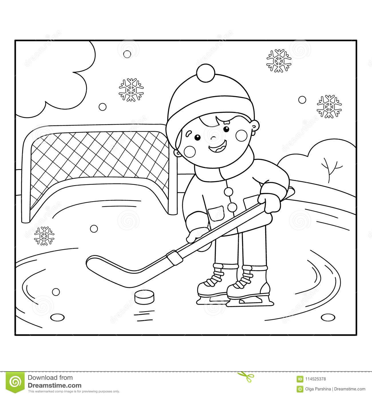 Coloring Page Outline Of Cartoon Boy Playing Hockey. Stock ...