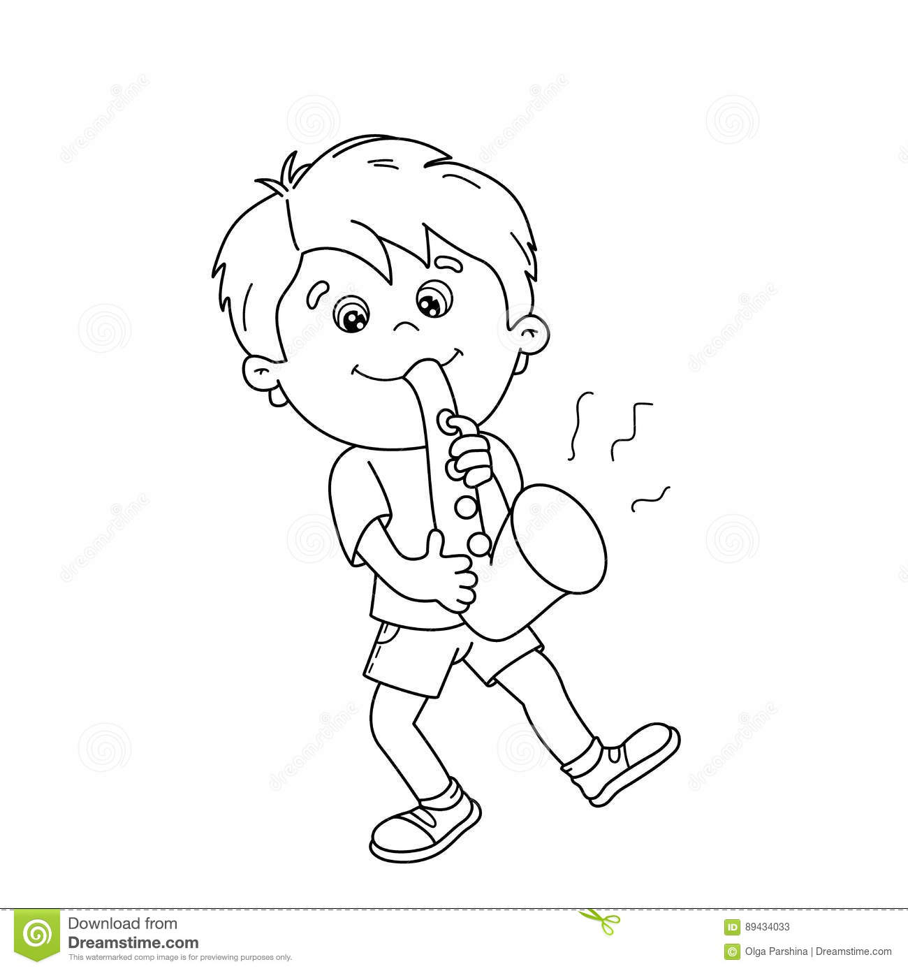 coloring page outline of cartoon boy playing the saxophone stock