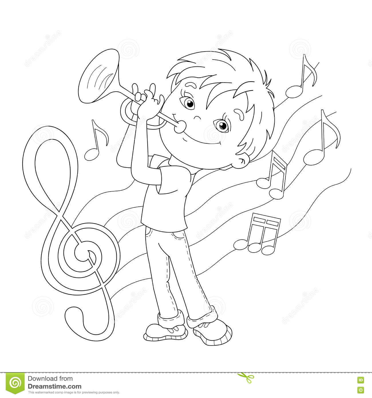 Coloring page outline of cartoon boy playing the trumpet for Trumpet coloring page