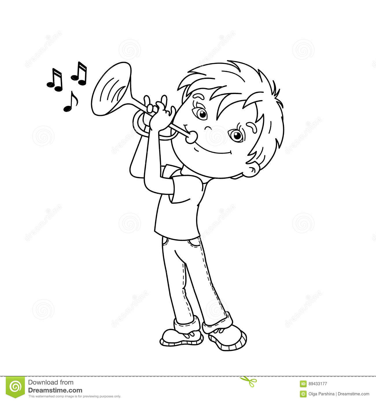 Coloring Page Outline Of Cartoon Boy Playing The Trumpet