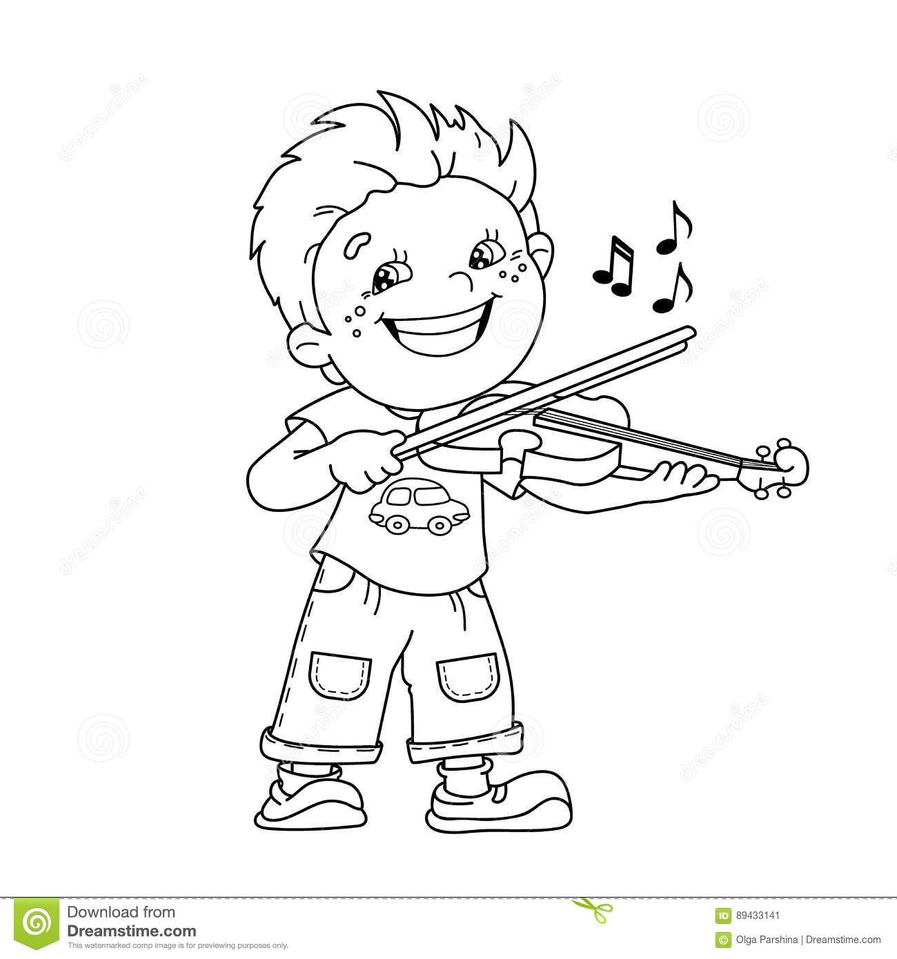 Coloring Page Outline Of Cartoon Boy Playing The Violin