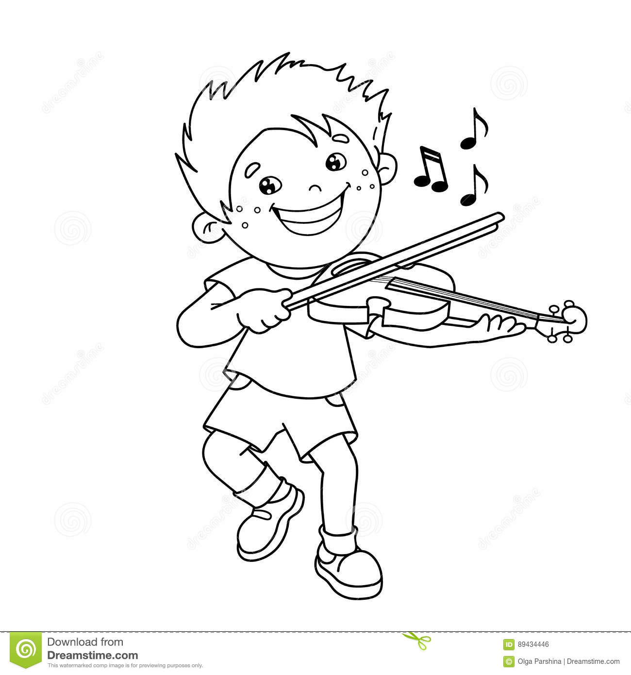Coloring Page Outline Of Cartoon Boy Playing The Violin Stock Vector