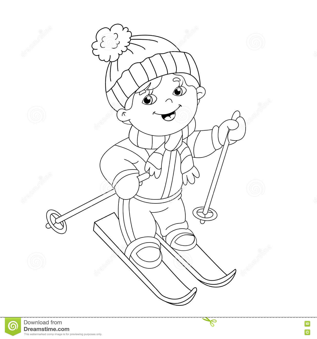 boy ski coloring pages