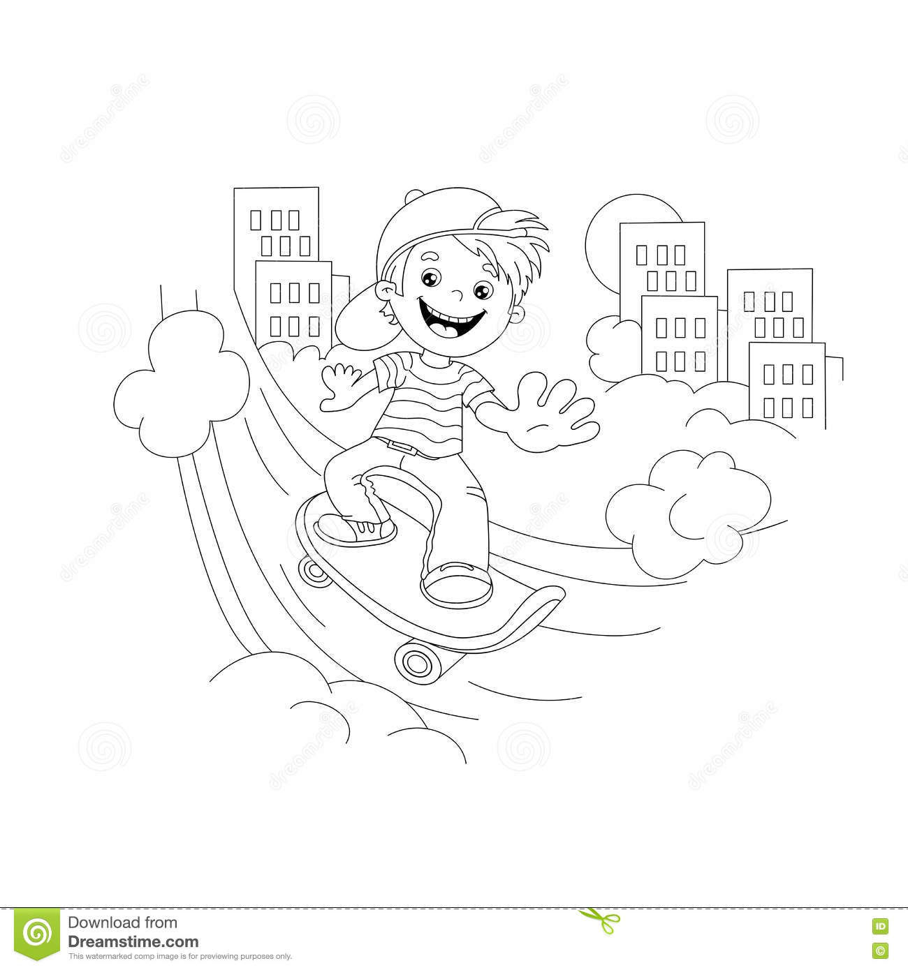 Coloring Page Outline Of Cartoon Boy On The Skateboard In