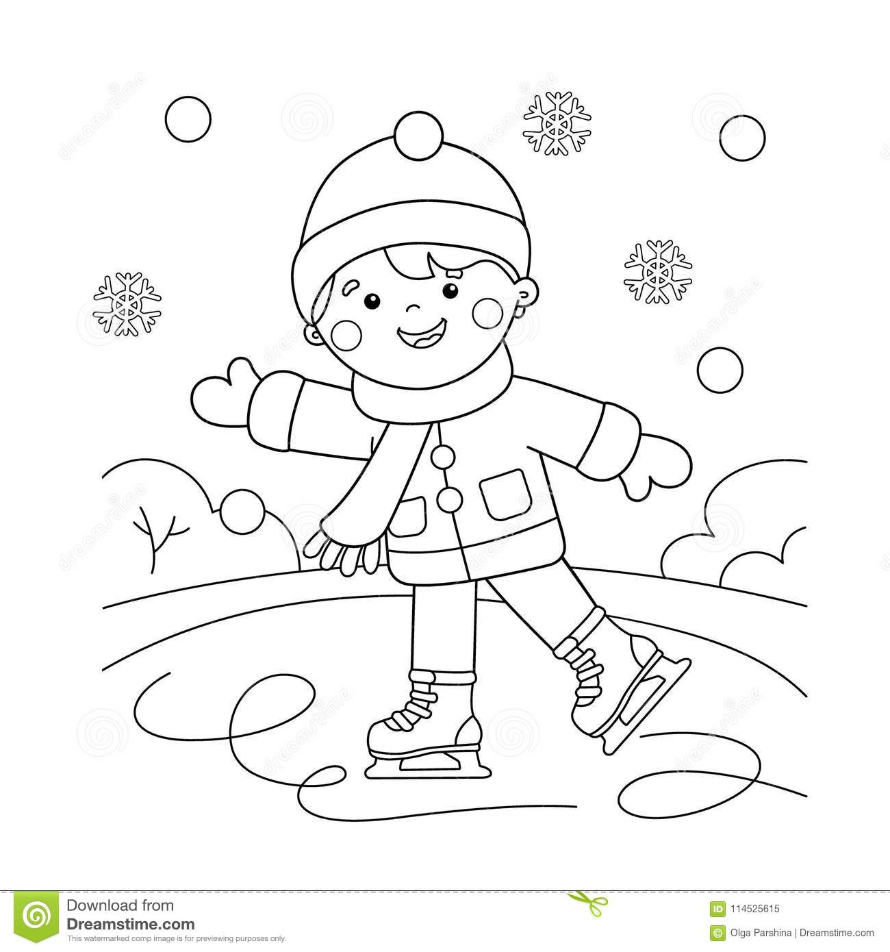 Coloring Page Outline Of Cartoon Boy Skating. Winter ...