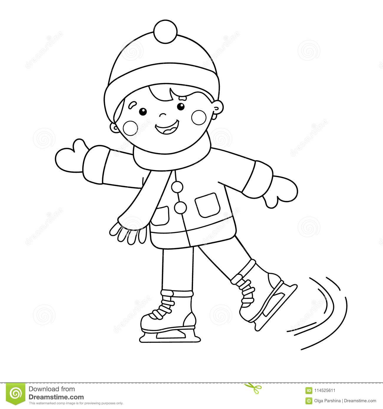 Coloring Page Outline Of Cartoon Boy Skating Winter Sports Stock