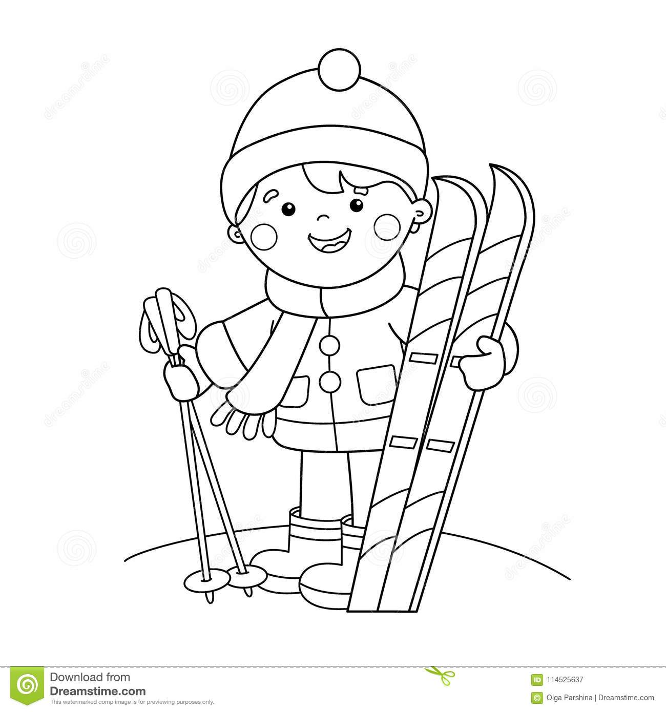Coloring Page Outline Of Cartoon Boy With Skis. Winter Sports. Stock ...