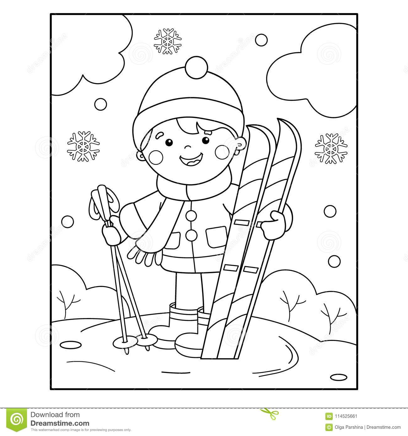 Coloring Page Outline Of Cartoon Boy With Skis Winter Sports C