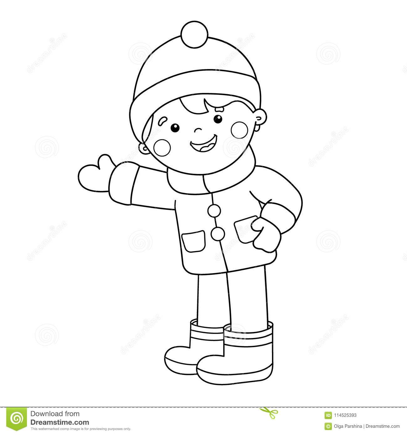 Coloring Page Outline Of Cartoon Boy. Winter. Coloring Book For Kids ...