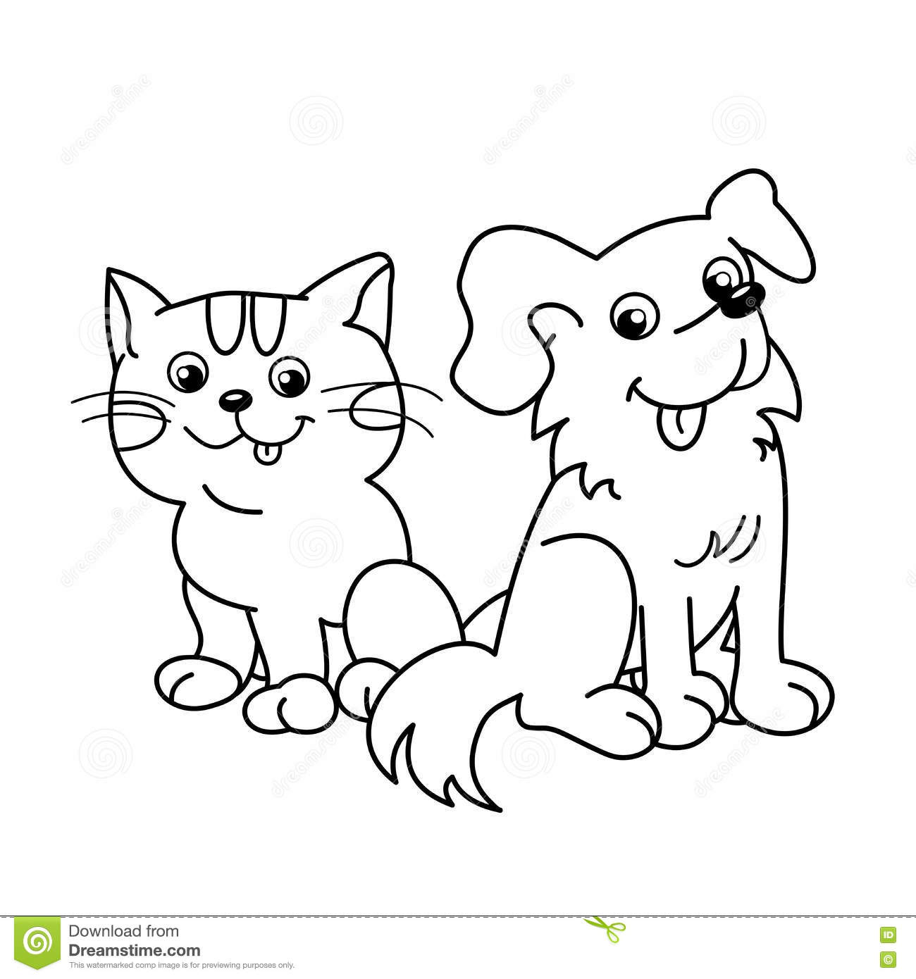 coloring page outline of cartoon cat with dog pets coloring book