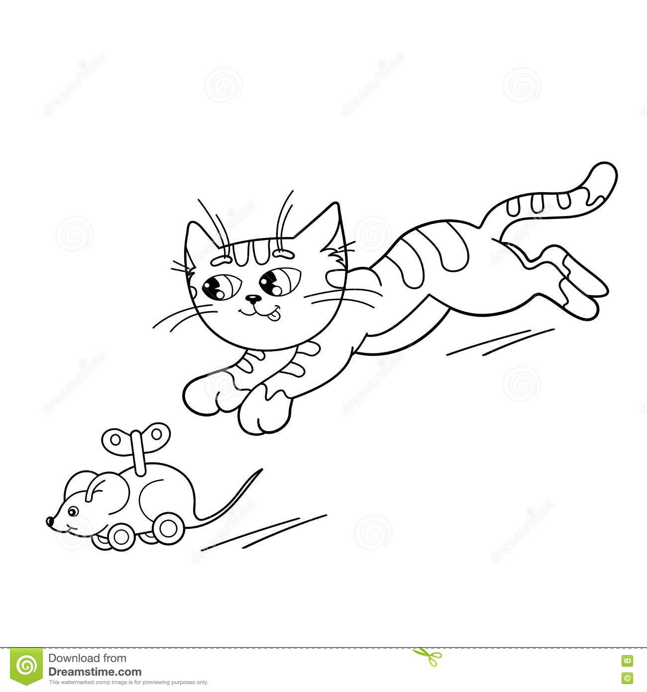 Coloring page outline of cartoon cat playing with toy clockwork mouse coloring book for kids
