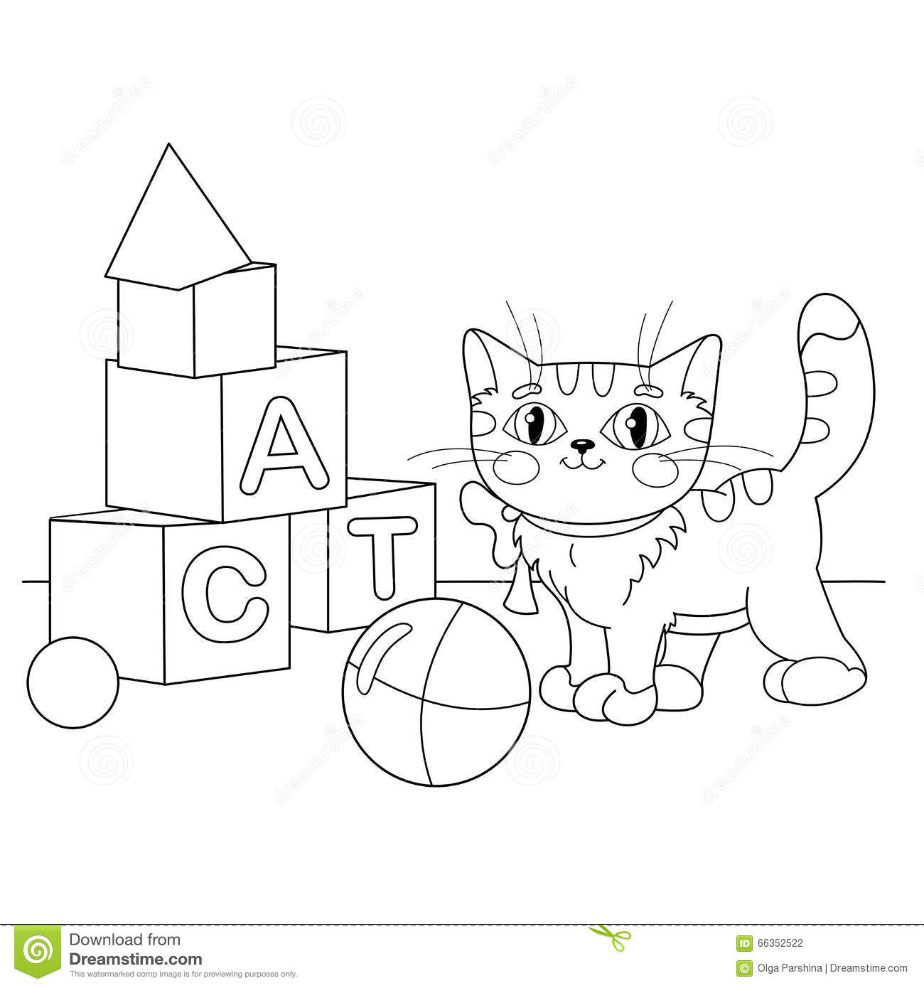 Coloring Page Outline Of Cartoon Cat Playing With Toys Book