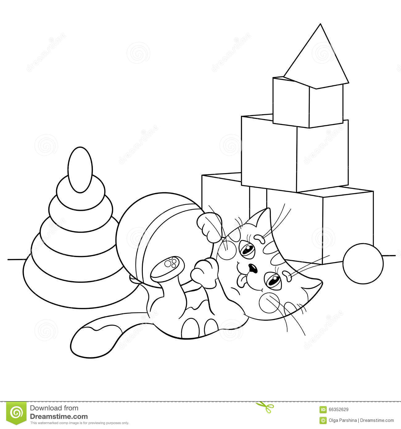 coloring page outline of cartoon cat playing with toys stock
