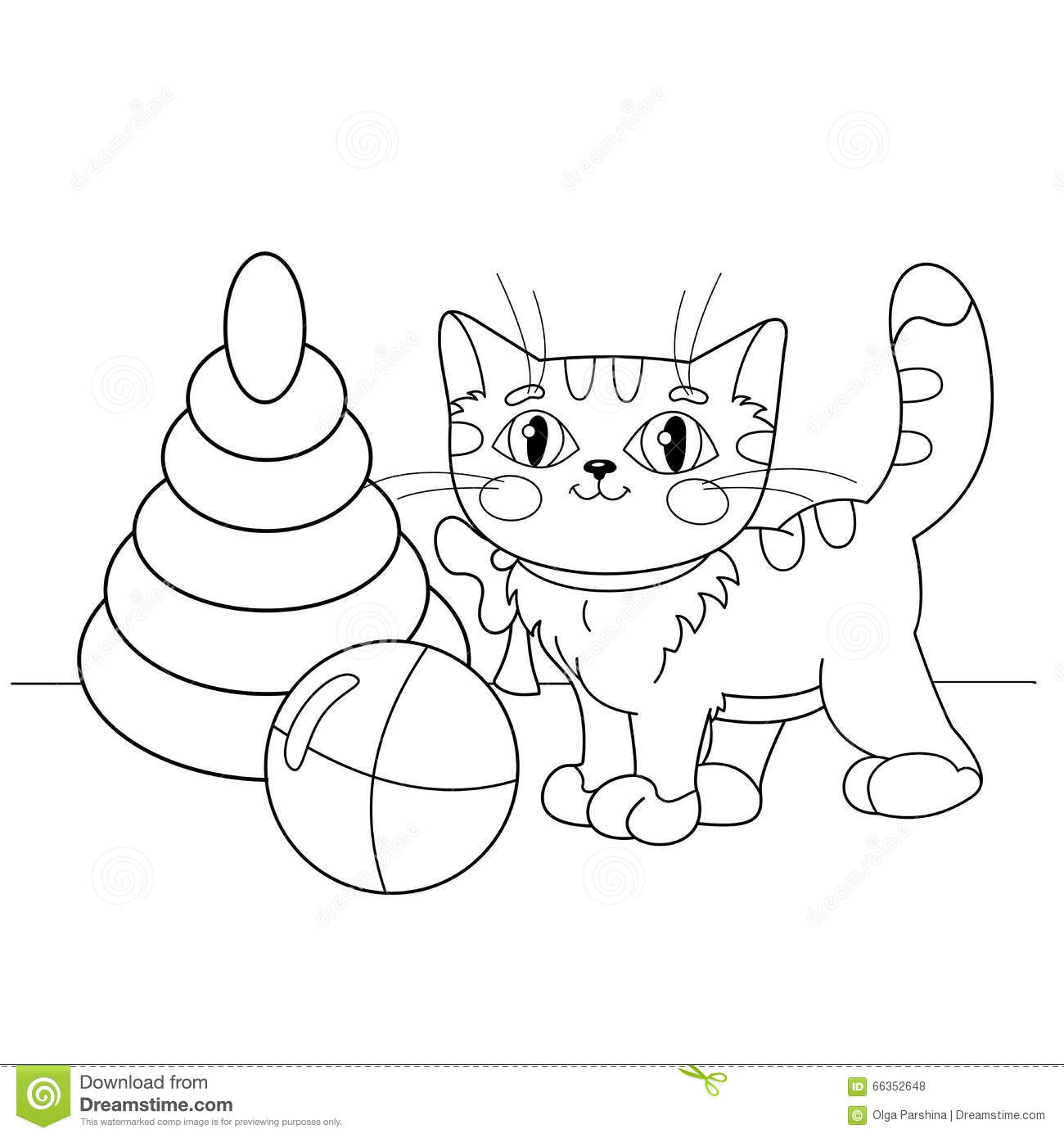 Coloring Page Outline Of Cartoon Cat Playing With Toys Stock Vector