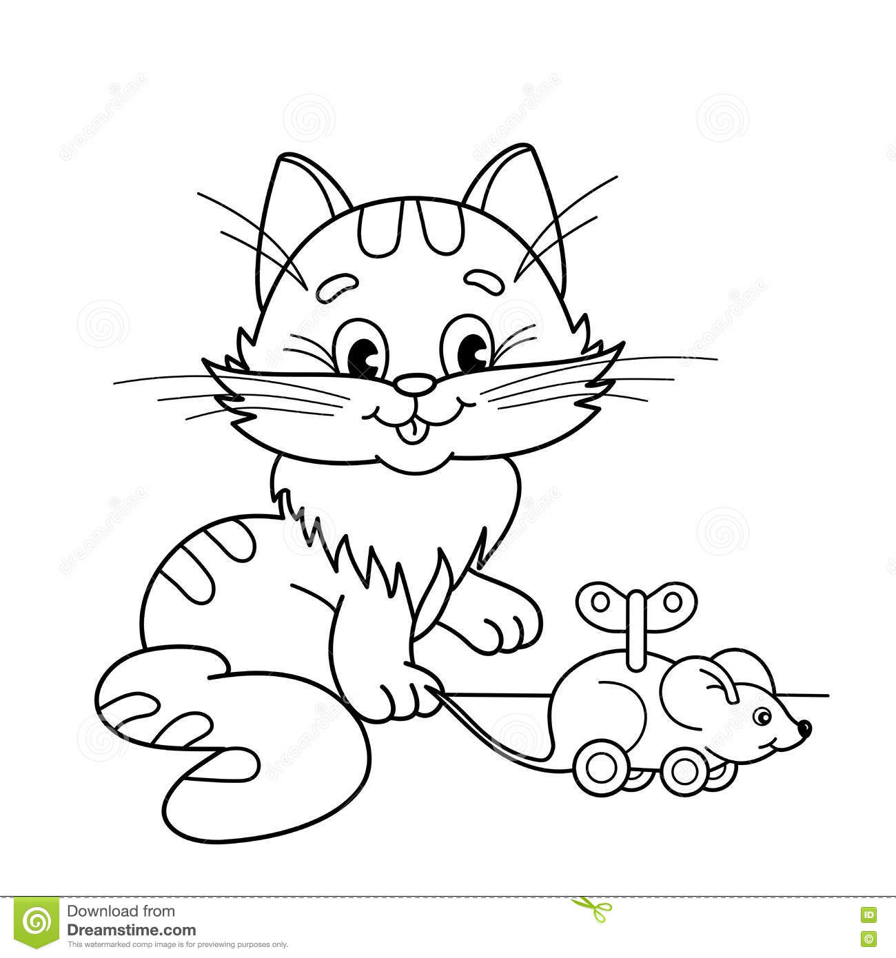 coloring page outline cartoon cat toy clockwork mouse coloring book kids